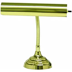 "House Of Troy AP10-20-61 Advent Collection Gooseneck Portable Piano/Desk Lamp, 11-1/2""H x 10""W, Polished Brass"