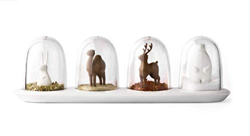 Kitchen Seasoning Jar, Seasoning Shaker, Animal Parade Design, 4 in 1 by TabEnter