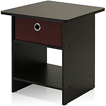 Furinno 10004EX/BR End Table/Night Stand Storage Shelf With Bin Drawer, Dark