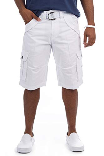 "X RAY Mens Tactical Bermuda Cargo Shorts Camo and Solid Colors 12.5"" Long Inseam Knee Length Classic Fit Multi Pocket White Size 34"