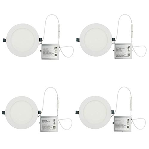 (LED Recessed Light Fixture 6 Inch Round with Driver, 3000K Bright White, 14W, 1000 Lumens, 120V, Low Profile, Dimmable, Energy Star and IC Rated, White Trim, 4 Pack)