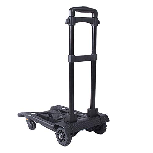 Price comparison product image Shopping trolley Shopping cart Household Trailer Grocery Shopping cart Folding Portable Trolley Can Bear 40 kg (Color : Black