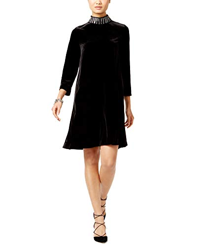 (Alfani Velvet Embellished Mock-Neck Dress (Deep Black, M))