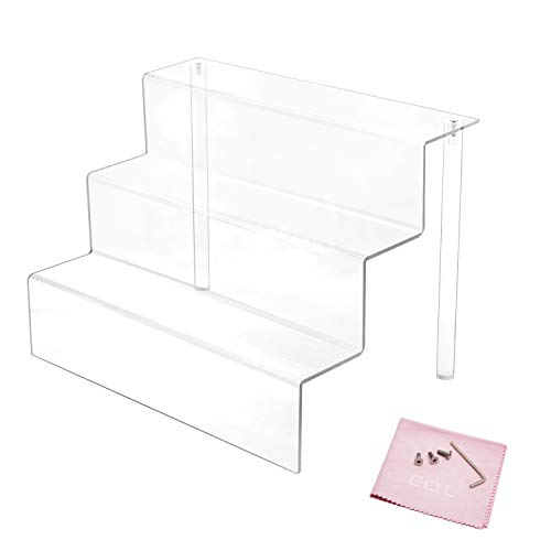 Combination of Life 3 Step Acrylic Riser Display Shelf for Amiibo Funko Pops Figures Clear 12 x 8.5 Inch transparent QS-SCZJ12C