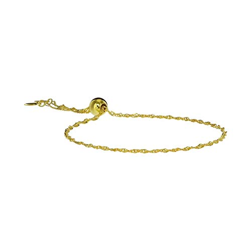 (Roma Designer Jewelry Adjustable Milano Twist Silver Friendship Bracelet (Gold))