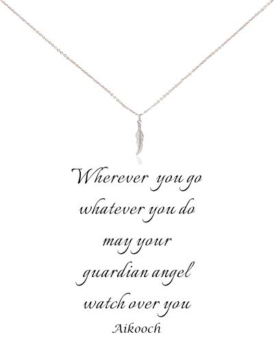 Zealmer Guardian Angel Feathers Necklace Wish Card for Women Sliver