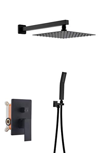 Havin A301 All Metal High Pressure 10 inch Square Rainfall Shower System,Wall Mount,Shower faucet set,Including Shower Faucet Rough-in Valve Body and Trim (Style B Black Color)