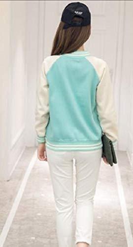 Stand Buttoned Green Collar Varsity Raglan Jackets Chic Preppy XINHEO Womens CnSBT5