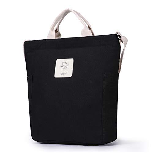 HaloVa Women's Shoulder Bag, Stylish Handbag, Large Canvas Tote Bag, Multiple Ways to Carry, Black