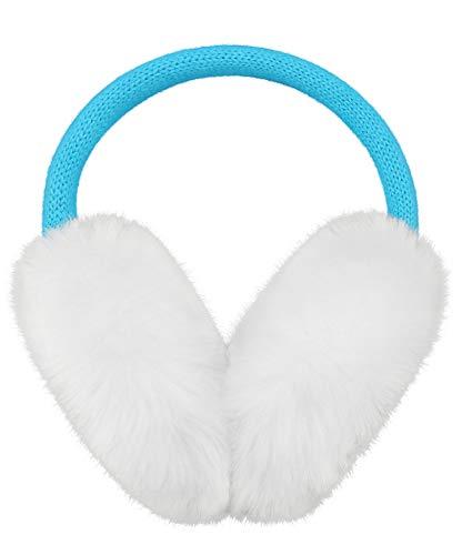 Kids Girls Ear Muffs Winter Warm Faux Fur Outdoor Knitted Heart Earmuffs Blue (Kids Girls Ear Muffs)