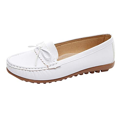 Todaies Fashion Women Shoe Casual Bow Peas Shoes Leather Moccasins Slip-On Driving Shoes White