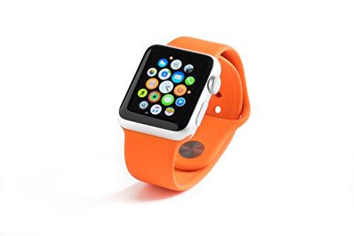 Gorillatronics Apple Watch Band 38mm High Performance Sport Silicon Replacement Band - Medium/Large - Orange