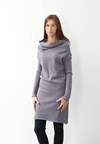 41f7fd0fda2cf Amazon.com: Modern Women Knitted Sweater Dress Long Gray Dress- Sweater  With Long Sleeves Original Women Winter Dess: Handmade