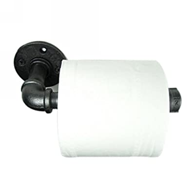 IMQOQ Vintage Industrial Urban Wall Mounted Metal Iron Pipe Toilet Bathroom Paper Holder Roller Rustic
