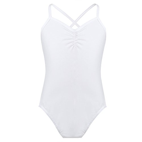 iiniim Kids Girl's Cross Strap/Lace Back Cotton Ballet Dance Gymnastics Camisole Leotard Sports Tank Tops White 10-12