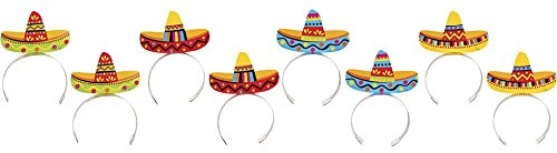 Amscan Cinco De Mayo Fiesta Party Colorful Sombrero Headbands, 8 Pieces, Made from Plastic, Graduation/Commencement/Team Spirit,  8'' x 5 7/8'' x 1/2'' by by Amscan
