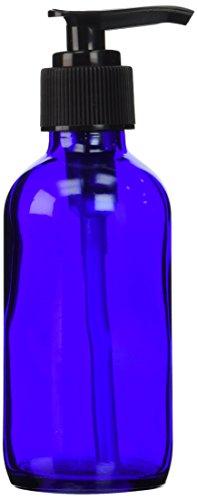 4 Oz Cobalt Blue Boston Round Glass Bottle with Black Lotion Pump-(1)