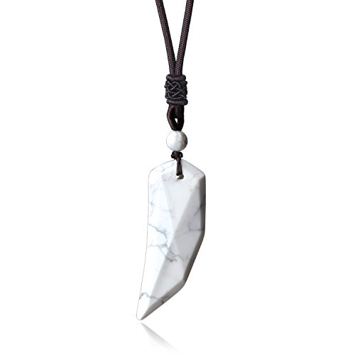 (COAI Adjustable Genuine Stones Howlite Spike Amulet Mens Womens Necklace)