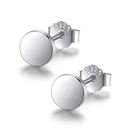 (Minimalism Sterling Silver Tiny Dot Disc Stud Earrings (Sliver))