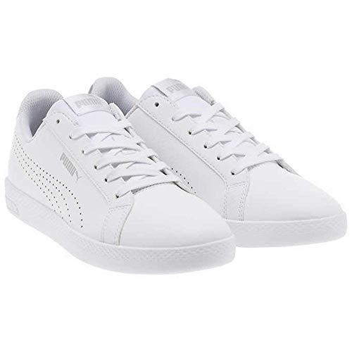 (PUMA Women's Smash WNS Perf Metallic Sneaker, White-Silver, 9 M US)