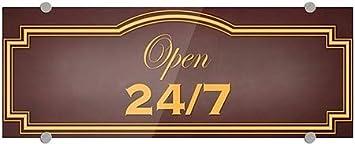 Classic Brown Premium Brushed Aluminum Sign CGSignLab 8x3 5-Pack Open 24//7
