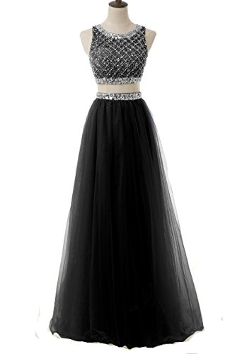 BD066 Prom Gowns Ball BessDress Piece Beaded Long Bodice Two Sequined Black Dresses 2017 IxHPBq