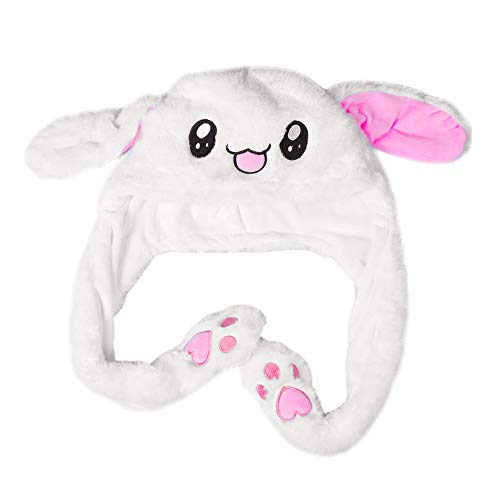 Bunny Hat - Cute Animal Hat, Plush Hat,Very Interesting is That The Ear Can Move Up and Down (White Pink 2 paw Send by Random)