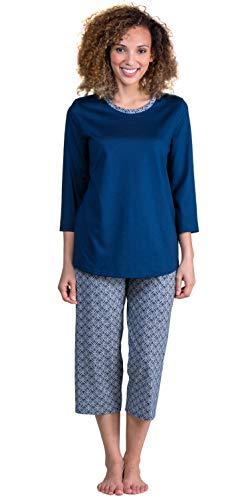 Calida Sleepwear - 100% Cotton Knit 3/4 Sleeve Capri Pajama Set in Night Shadow (Night Shadow, L)