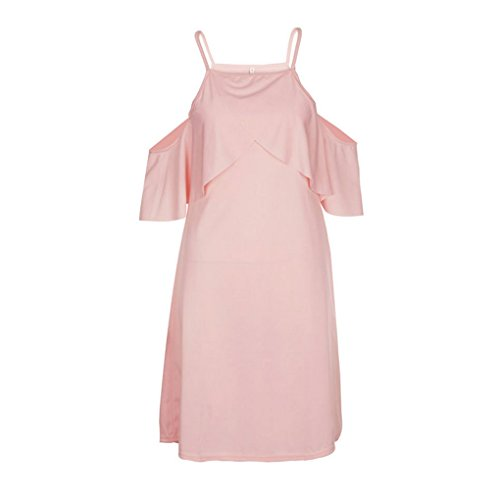 Masterein Femmes Sexy Encolure Sling Robe  Volants Beach Party Summer Dress Solide rose