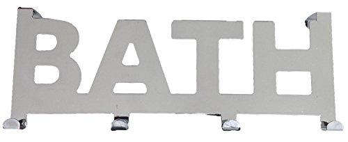 EVIDECO 9687102 Over the Door 4 Hooks Coat Rack BATH writing Metal -