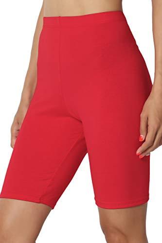 TheMogan Women's Mid Thigh Cotton High Waist Active Short Leggings Dark Red XL