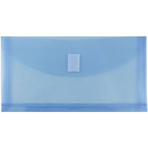 Plain Expansion Envelopes - JAM PAPER Plastic Expansion Envelopes with Hook & Loop Closure - #10 Booklet Wallet - 5 1/4 x 10 with 1 Inch Expansion - Blue - 12/Pack