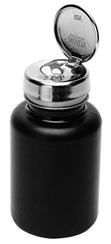 Menda 35336 One Touch Liquid Dispenser Pump Bottle, Conductive Round Bottle, 6 oz. Dissipative, HDPE/Stainless Steel, Black (Menda Pump)