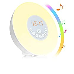 Sunrise Alarm Clock, TEKITSFUN Wake Up Light with FM Radio, Snooze Function, 6 Nature sound, Easy Set up via Touch Control, Sunrise and Sunset Simulator Alarm Clock for Bedside, Adults and Kids