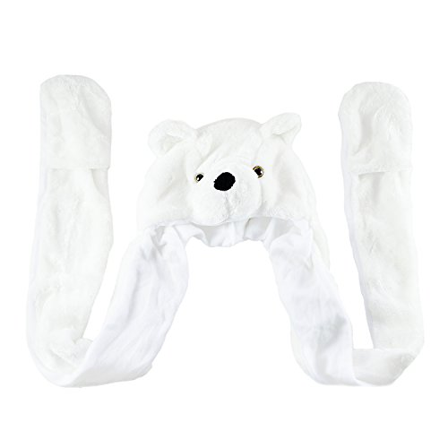 Bear Hands Mittens (Polar Bear Cute Plush Animal Winter Ski Hat Aviator Style Winter Fashion)