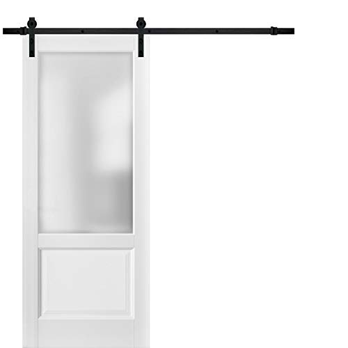 Sliding Barn Door 36 x 80 with Hardware | Lucia 22 Matte White with Frosted Opaque Glass | Top Mount 6.6FT Rail Hangers Sturdy Set | Lite Wooden Solid Panel Interior Doors