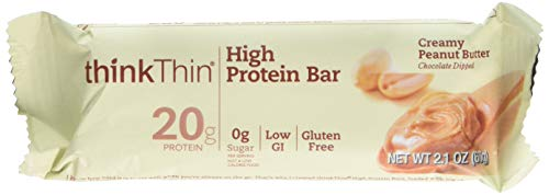 Thin Bar Creamy - thinkThin High Protein Bars, Creamy Peanut Butter, 2.1 oz Bar (10 Count)