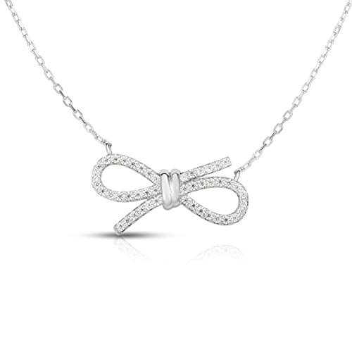 "Unique Royal Jewelry 925 Sterling Silver Cubic Zirconia Bow Tie Ribbon and Adjustable Length Necklace 16"",17"" or 18"". (Rhodium-Plated Silver)"