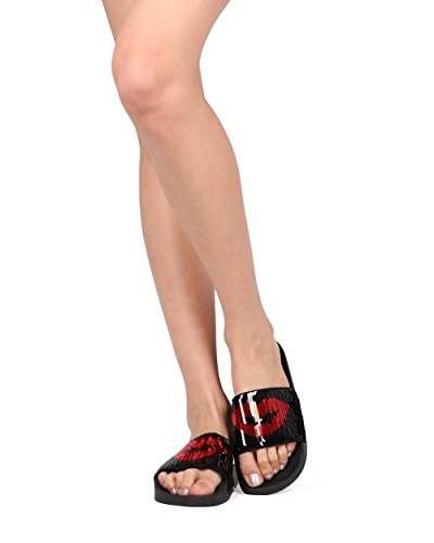Alrisco Mujer Reversible Sequin Kisses Diapositiva De La Base Del Dedo Del Pie Abierto - Hg64 De Nature Breeze Collection Black / Red Sequin