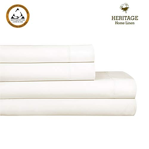 (Heritage Home Linen 800tc Egyptian Cotton Blend Solid Sateen 4-Piece Queen Bed Sheet Set with Hem Stitch- Ivory)