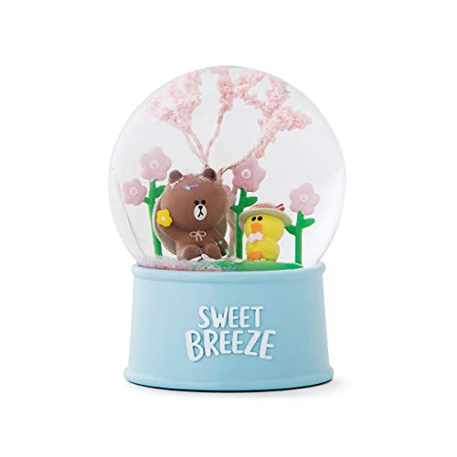 LINE FRIENDS Snow Water Globe - Brown and Sally Character Cute Home Décor, Light Blue (Best Friend Snow Globe)