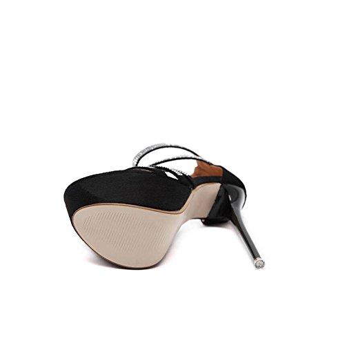 L@YC Mujeres Rhinestone Heel Sandal pie de estilete Super hermosa boca de pescado zapatos / Negro Black