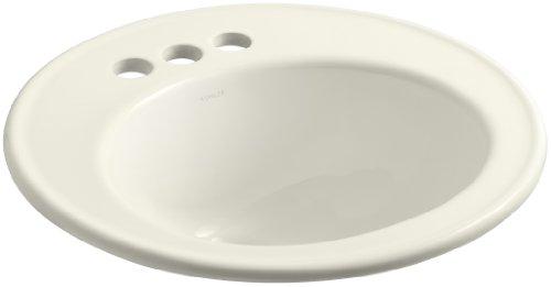 KOHLER K-2202-4-96 Brookline Self-Rimming Bathroom Sink, Biscuit