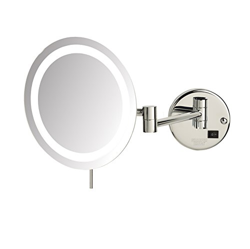 Sharper Image JRT718CL 8.5-inch Slimline LED Wall Mount 8x Magnifying Makeup Mirror, Chrome by Sharper Image