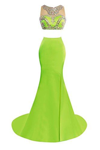 Verde Bess Vestiti Pezzi Sposa Da Mermaid Spaccato Bordato Lime Di Promenade I Donne Due Sera SOrUSq
