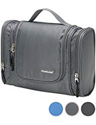 Finnkare Large Hanging Travel Toiletry Bag Bathroom Storage Organizer with Hanging Hook for Men or Women Travel Accessories- for Cosmetics, Toiletries or Makeup Grey by FINNKARE