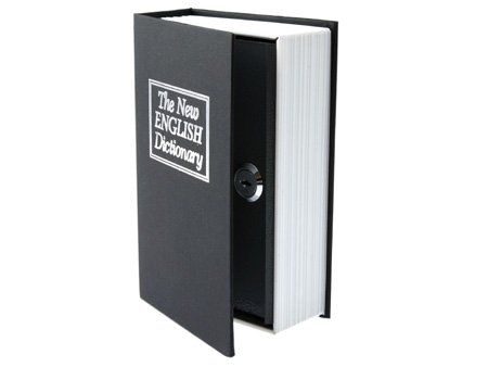 BookSafe Home Dictionary Diversion Book Safe with Key Lock, Metal (Black, S)
