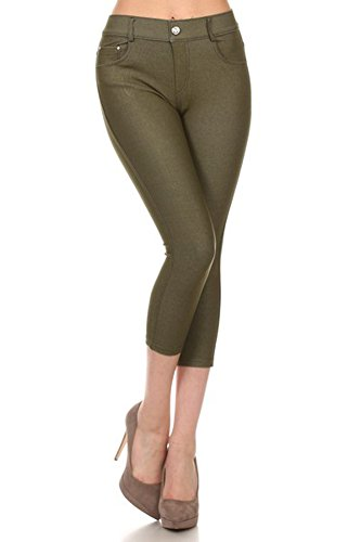Belle Donne - Women's Pants Capri Jeggings Cotton Blend Solid Colors-ArmyGreen/L