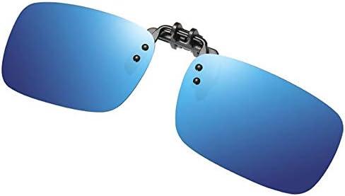 ZZZ Occhiali da Sole Classici in Metallo con Clip Flip-up Color Oro/Blu/Verde/Argento, Uomini E Donne con Occhiali da Sole Polarizzati da Guida Parasole (Colore : Blue)