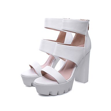 LvYuan Mujer-Tacón Robusto-Zapatos del club-Sandalias-Oficina y Trabajo Vestido Fiesta y Noche-Cuero-Negro Blanco Black